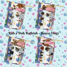 Rub a Dub Dog Cat in a Tub House Flag, Pet Photo Lovers Gift Decorative Flag