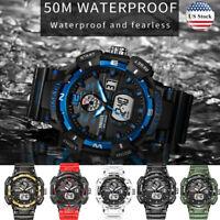 SMAEL Mens Army Sport Digital Analog Date Alarm Military 48mm Quartz Wrist Watch