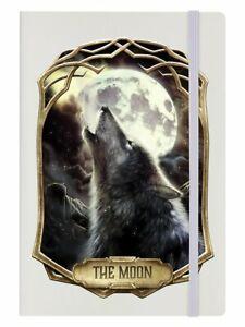 The Moon Tarot Card, Cream A5 Hard Cover Notebook, Howling Wolf, Spiritual Gift