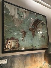 """LARGE VIBRANT COLOR 44"""" PRINTED ON MIRROR WORLD MAP WALL ART MODERN & VINTAGE"""