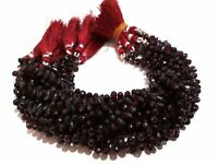 "Natural Mozambique Garnet Faceted Teardrop Briolette Gemstone Beads 8.5""Inch"