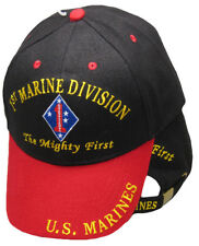 1st Marine Division The Mighty First U.S. Marines Black Red Embroidered Cap Hat