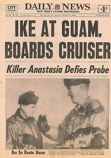 DAILY NEWS 1952 December 6 EISENHOWER AT GUAM KOREA ANASTASIA ROBINSON MITCHELL