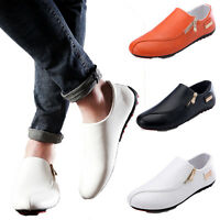 Mens Casual Soft PU Leather Loafers Side Zip Slip On Driving Flats Fashion Shoes