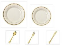 Ivory w/Gold Trim China-like Plastic Plates Gold Cutlery Set 500 Pieces Wedding