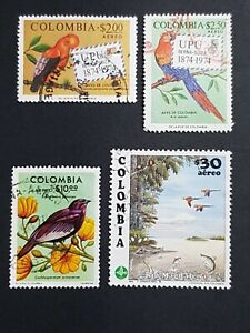 Colombia: Used bird stamps
