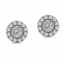 1.00Ct Real Round Cut Diamond 925 Sterling Silver Cluster Stud Earrings  (I2, J)