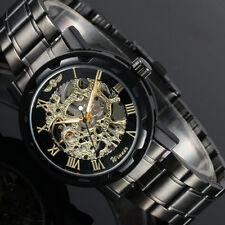 WINNER Skeleton Golden Roman Numerals Stainless Steel Watch New