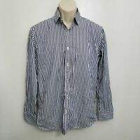 Steel Jelly Mens Button Up Shirt Medium Blue White Striped Long Sleeve Cotton