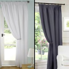 """Pair of Ready Made White Grey Lined Voile Pencil Pleat 3"""" Tape Top Curtains"""