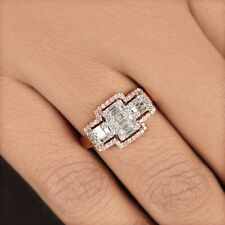 Natural Baguette Diamond Ring Solid 18k Rose Gold Fine Jewelry NEW COLLECTION!