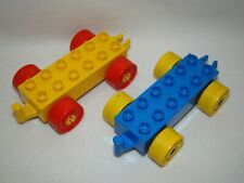 Lego Duplo Vintage Vehicle Car Truck Bases Lot of 2 Yellow Blue Red Wheels