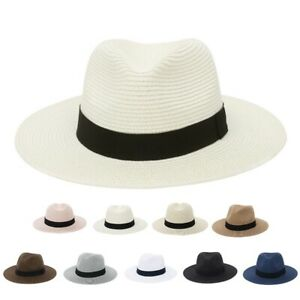 Men Women Straw Summer Fedora Hat With Band Panama Style Trilby Beach New