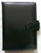 Leather File Organiser NEW BLACK POCKET SIZE WALLET 15mm Diameter