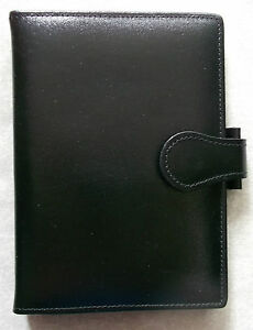 Leather File Organiser NEW BLACK POCKET SIZE WALLET 15mm Diameter