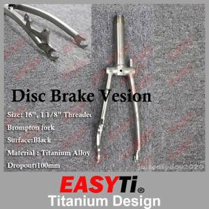 """EasyTi Titanium Disc Brake Fork for Brompton Folding Bike frame 1&1/8""""-Threaded"""