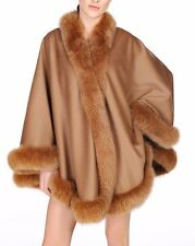 Camel Cashmere Cape Wrap Shawl with Fox Fur Trim New