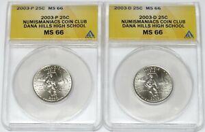 Numismaniacs Coin Club  ~  2003- P & D 25C Illinois State Quarters ~ ANACS MS66