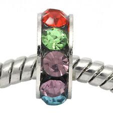 Multi-Color Rhinestone Spacer Silver Tone Bead for European Style Charm Bracelet