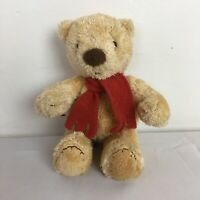 """Marks and Spencer Beige Spencer Teddy Bear Red Scarf Beanie Plush Soft Toy H 8"""""""