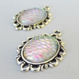 White Mermaid Scale 31mm Antiqued Silver Plated Charms C9129 - 5, 10 Or 20PCs