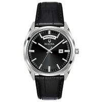 Bulova Men's Quartz Black Leather Day/Date Indicator 37mm Watch 96C128