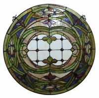 Stained Glass Tiffany Style Round Window Panel 268 Glass Pieces  ONE THIS PRICE