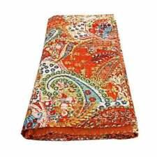 Indian Handmade Quilt Vintage Kantha Bedspread Throw-Cotton Blanket Floral Print