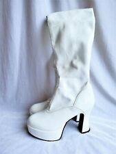 Hot Topic GoGo Boots Platform Heels Womens 5N White Pleather Mod Austin Powers