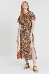 Topshop Ruffle Midi Pansy Dress - 10