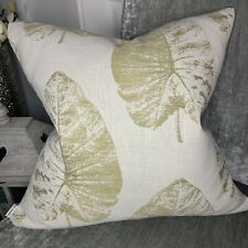 """Cushion Cover 18"""" X 18"""" Designer iLiv Fabric """"Laurie"""" Leaf Natural Green"""