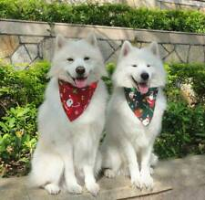 2PCS Adjustable Cotton Dog Bandana Christmas Pet Costume Christmas Santa Scarf