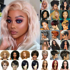 Ladies Afro Short Kinny Curly Wigs African Women BOB Straight Brazilian Full Wig
