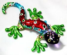 Handmade Figurine Animal Hand Blown Glass Reptile Gecko Bugaboo Lizards Colorful