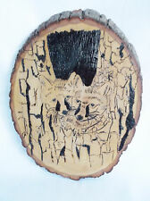 "Raccoons in Tree Wood Burned Wall Plaque 10 X 7.5"" Handmade Pizazz Creations"