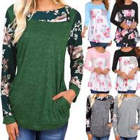 Women Casual Floral Print Long Sleeve Pullover Blouse Tunic Shirt Sweatshirt Top