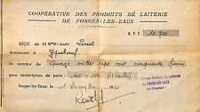 RECU SOUSCRIPTION PARTS COOPERATIVE LAITIERE FORGES-LES-EAUX TIMBRE FISCAL 1951