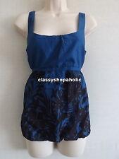 Monsoon Cobalt Blue Floral Print Bubble Hem Top  Size 10  BNWOT
