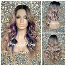 Lace Front Wig Blonde Purple Pink Blue 13x6 Parting Space Wavy Baby Hair Heat Ok