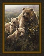 Grizzly Bears Denali  Family Quilt Top Wall Hanging Panel Fabric Wildlife