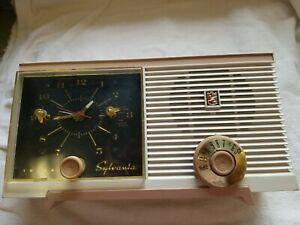 Vintage Sylvania Radio Model 5C11 Alarm Clock and Radio Pre 1959 (works)