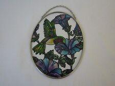 "Hummingbird Floral Stained Art Glass Suncatcher 7"""