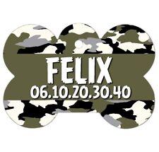 Médaille Os Chien Camouflage personnalisée avec nom et n° de téléphone