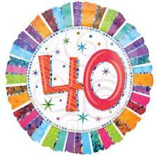 Radiant anniversaire 40 Ballon PLAT MULTICOLORE RAYURES Décoration de fête