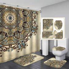 Buddhist Mandala Shower Curtain Bath Mat Toilet Cover Rug Bathroom Decor