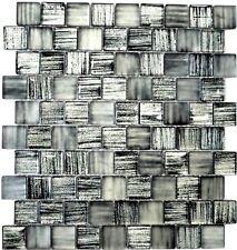 Glasmosaik Struktur schwarz mix klar/gefrostet Küche Art: 78-CF81   10 Matten