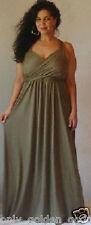 olive maxi dress flattering sleevless sexy rayon jersey M L XL 1X 2X ONE SIZE