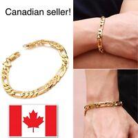 18K Yellow Gold Plated Women Men Bracelet Curb Chain Fashion Jewelry Bracelet
