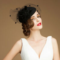 Womens Vintage 100% Wool Fascinator Cocktail Party Church Wedding Hat A052
