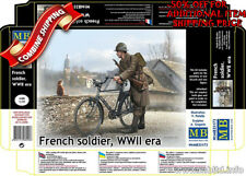 Master Box 35173 French Soldier with Bicycle WWII Era plastic model kit 1/35